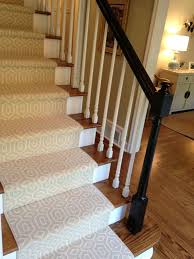 Interesting White Carpet For Stairs On Wooden Foot Ladder And Cool White  Woods Banister Rails Ideas And Black Handle Color Panels And Solid Brown  Hardwood ...