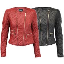 las womens leather look pu pvc quilted er biker jacket by brave soul