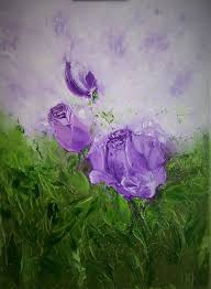 violet rose oil painting on canvas painting 40x30x2 cm 2017 by iryna