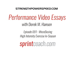 performance video essay episode micro dosing high intensity  performance video essay episode 001 micro dosing high intensity exercise for the in season period