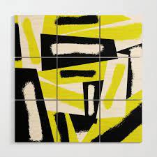 white yellow wood wall art