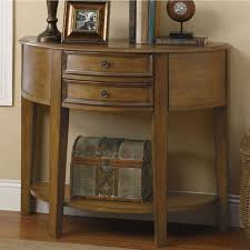 furniture oak half moon console table with two drawer and shelf throughout entry decorations 4 half moon console table w71