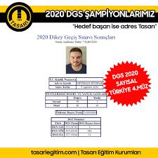 DGS 2020 TÜRKİYE 4.MÜZ METEHAN... - Tasarı Eğitim Kurumları