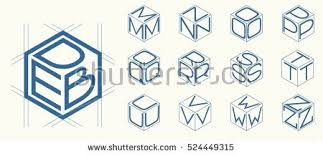 stock vector set template of the letters inscribed in the three sides of the cube hexagon to create