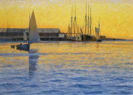 Harbor at Sunset - Original Framed Oil on Canvas by Howard Schafer ...