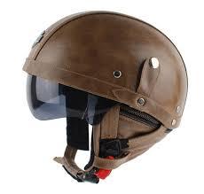 dot approved new retro leather motorcycle helmet vintage hlaf helmet casco with inner sun visor goggles