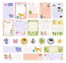 Collection Of Weekly Or Daily Planner Pages Or Stickers Sheet