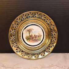 regency bone china and brass wall plate england vintage the huntsman brass framed plate horses hunting