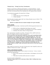Thematic Essay Examples Thematic Essay Writing Your Essay S Introduction