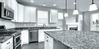 white quartz kitchen grey and gray countertops cabinets with sparkling mirror flecks got this for our