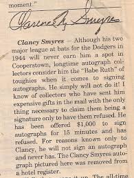 the strange saga of clancy smyres and why his autograph is more  autograph clancy smyres brooklyn dodgers
