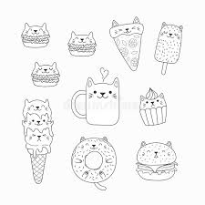 Kawaii is japanese for tiny, cute and cuddly. Kawaii Cats Food Coloring Pages Stock Vector Illustration Of Book Contour 138716325