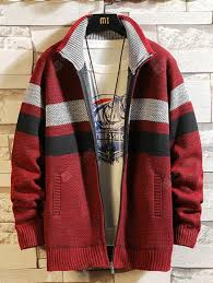 <b>Men Stand</b> Collar Stripe Pattern Sweater Zipper Coat with Pocket ...