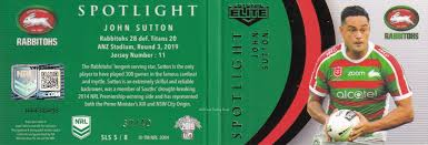 2019 NRL Elite Spotlight Jersey Patch Signature - SLS5 John Sutton South  Sydney Rabbitohs - #37 / 40 - Gold Coast Trading Cards