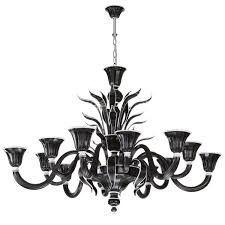 venetian glass chandelier in black and white glass 6 6 lights 1011