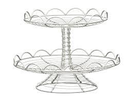 2 Tier Cream Wire Cake Stand