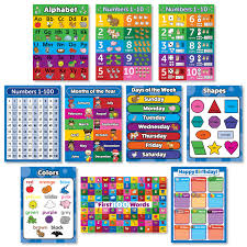 Preschool Wall Charts 10 Educational Wall Posters For Toddlers Abc Alphabet Numbers 1 10 Shapes Colors Numbers 1 100 Days Of The Week Months Of The Year