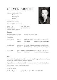 Cv Template Beginners Acting No Experience Actor Template Actor Cv