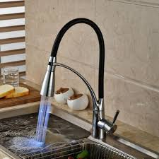 Led Kitchen Sink Faucet Black Chrome Plated Cold Hot Pull Out Spray