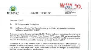 Employee Lay Off Letter Norpac Foods Inc To Lay Off More Than 900 Employees After