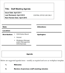 Staff Meeting Agenda Example Examples Templates Board Sample