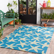 tropical coastal ocean starfish indoor outdoor blue area rug free