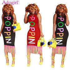 <b>Adogirl</b> Colorful <b>Letters Print</b> Tassel Midi Dress with Signature ...