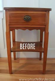 thrifty end table makeover with chalk paint and drawer flair