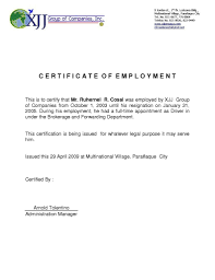 Example Certificate Employment Certificate Template For Visa Fresh