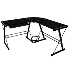 walker edison l shaped glass corner computer desk silver clear