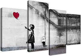 Amazon.com: Large Banksy Wall Art Canvas Print - Red Balloon Girl - Framed  Pictures Set of 4 Panels - 130cm / 51