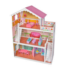 large childrens wooden dollhouse fits barbie doll house pink with furniture barbie furniture for dollhouse