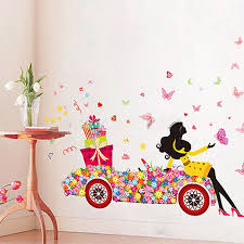 butterfly girl flower removable wall stickers vinyl decal room home mural decor on removable wall decor stickers with butterfly girl flower removable wall stickers vinyl decal room home