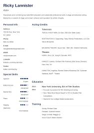 Actor Resumeplate Unique Acting Film Resume Template Technical