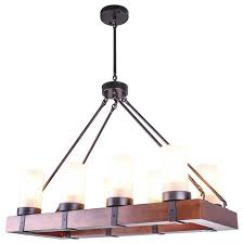8 light wooden chandelier kitchen island light with frosted glass