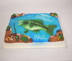 1 catching the big one fishing bass fish decoset birthday party cake topper. Sports