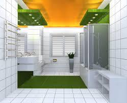 Moderne Und Luxuriöse Badezimmer Gelb Grün Weiß Innenraum
