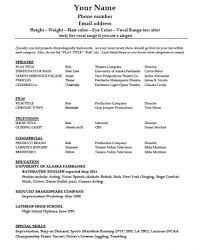 Theatrical Resume Template Actor Audition Cv Dance Microsoft Free