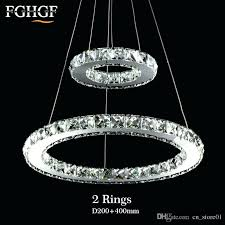 modern chrome chandelier crystals diamond ring led lamp stainless steel hanging light fixtures adjule with clear