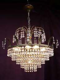 vintage chandelier with cut glass crystals france second half of the 20th century
