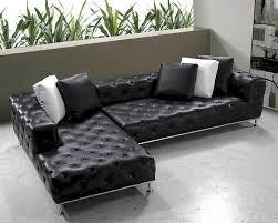 black modern tufted leather sectional sofa set l