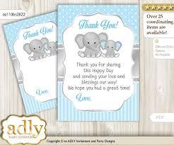 Baby Boy Thank You Cards Boy Elephant Thank You Cards For A Baby Boy Shower Or Birthday Diy