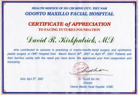 Certificate Of Appreciate Facial Reconstruction Certificates Ho Chi Minh City