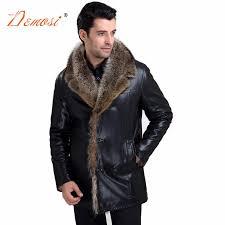 2017 18 mens wear fur coat brand clothing black leather jacket men s rac fur lined winter coat man plus size m 5xl