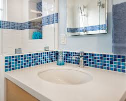 blue bathroom tiles. Inspiring Blue And White Bathroom Accessories : Glossy Sink With Fixed Tiles