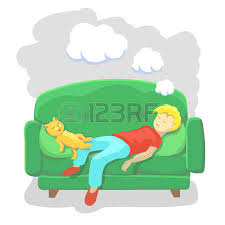 boy watching tv clipart. friends watching tv: man sleeping at home on sofa. relaxation indoor. vector illustration boy tv clipart l