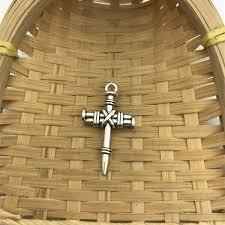 2 pcs tibet silver nail cross charms