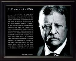 Wesellphotos Theodore Teddy Roosevelt The Man In The Arena Quote 8x10 Framed Picture Black And White With Signature