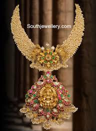 Laxmi Pearls Designs 22 Carat Gold Antique Finish Unique Pearls Necklace