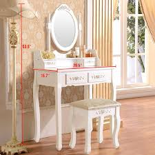 ktaxon elegance white dressing table vanity table and stool set wood makeup desk with 4 drawers mirror com